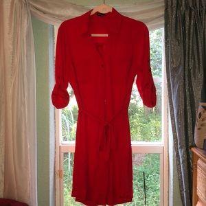 Express Portofino Shirt Dress Red M